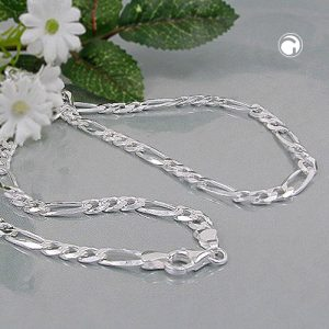 Collier chaine figaro plat argent 925 Krossin bijoux en argent 45cm 110012x