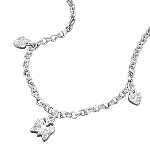 Collier coeurs et papillon argent 925 Krossin bijoux en argent 125002 38xx