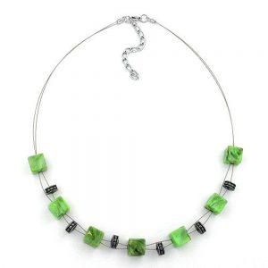 Collier cube perles vert clair marbre 45cm 00339xx