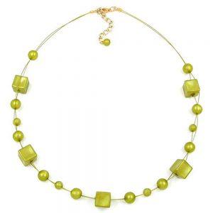 Collier cube perles vert olive 45cm 01957xx