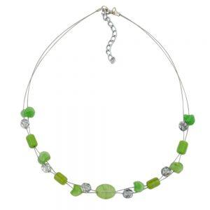 Collier de perles de verre vert 02550xx