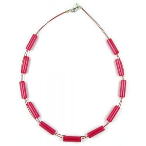 Collier de tubes brillant rouge 00636xx