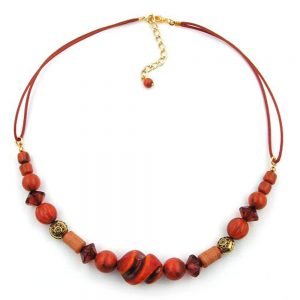 Collier differentes perles rouge  rouille  orange 00793xx