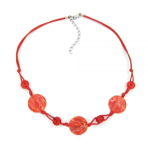 Collier disque en forme de perles marbrees rouges cordon rouge 00522xx