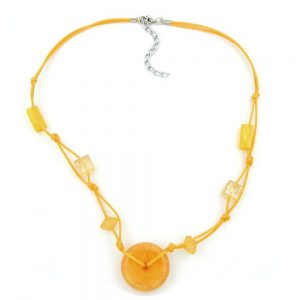 Collier disque perle jaune  transparent 02829xx
