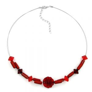 Collier divers en forme de perles rouges 00452xx