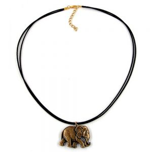 Collier elephant noir or colore 00468xx