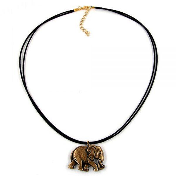 Collier elephant noir or colore 00468xx