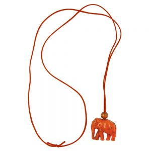 Collier elephant orange marbre 01130xx