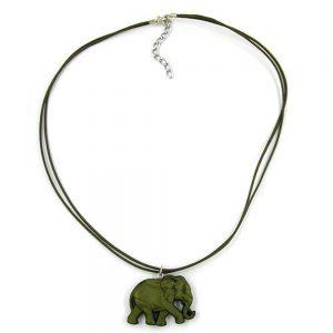 Collier elephant vert  olive 01293xx
