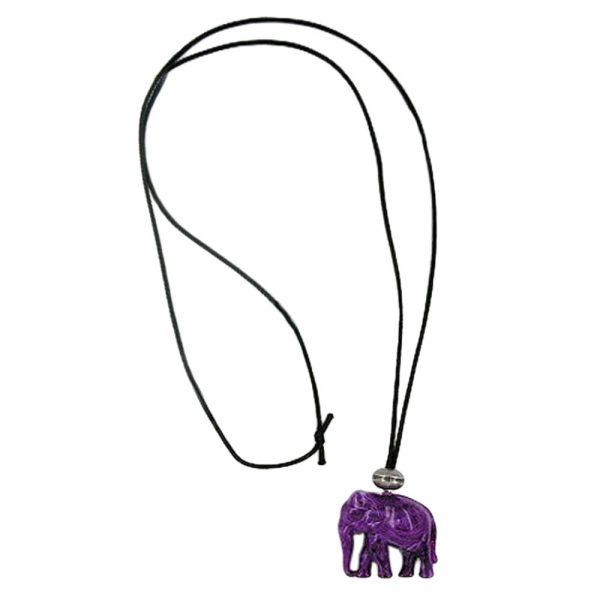 Collier elephant violet marbre 01126xx