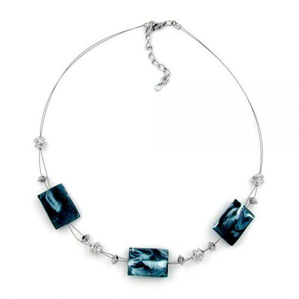 Collier en acier bleu et blanc perles sur fil souple enduit 45cm 00480xx
