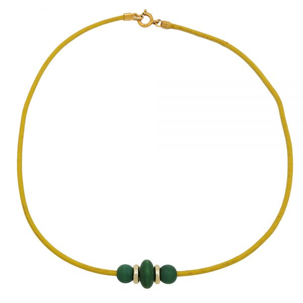 Collier en bois perles en cuir cordon 05125xx