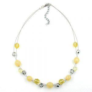 Collier en perles de verre jaune cristal 44cm 05211xx