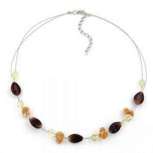 Collier en perles de verre marron 44cm 06436xx