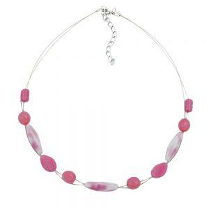 Collier en perles de verre rose 45cm 02521xx