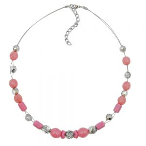 Collier en perles de verre roses et argentees 00662xx