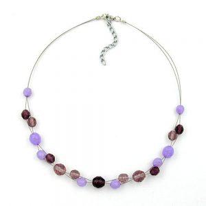 Collier en perles de verre violet 43cm 02545xx