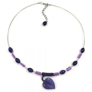 Collier feuille au tube lilas 02315xx
