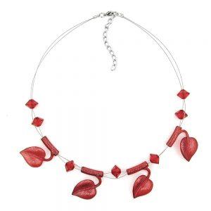 Collier feuille de perles de couleur rouge sur fil souple enduit 44cm 00847xx