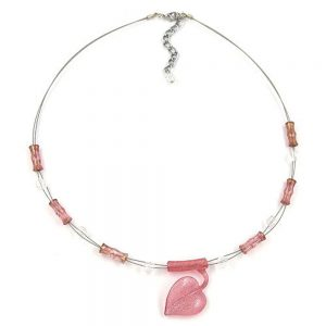 Collier feuille pendentif rose 02317xx