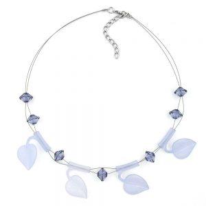 Collier feuille perles bleu clair sur fil souple enduit 44cm 00820xx