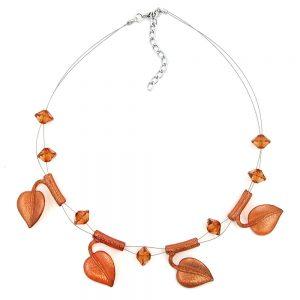Collier feuille perles marron sur fil souple enduit 44cm 00860xx