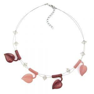 Collier feuille perles marron tons sur fil souple enduit 44cm 00856xx