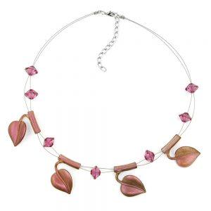 Collier feuille perles violet sur fil souple enduit 44cm 00813xx