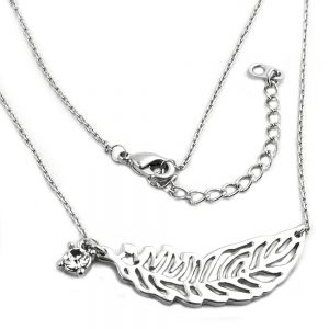 Collier feuille  plume pendentif or blanc 01211xx