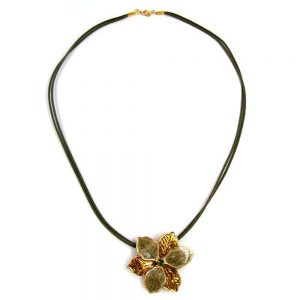 Collier fleur olive or emaille 50cm 00411xx