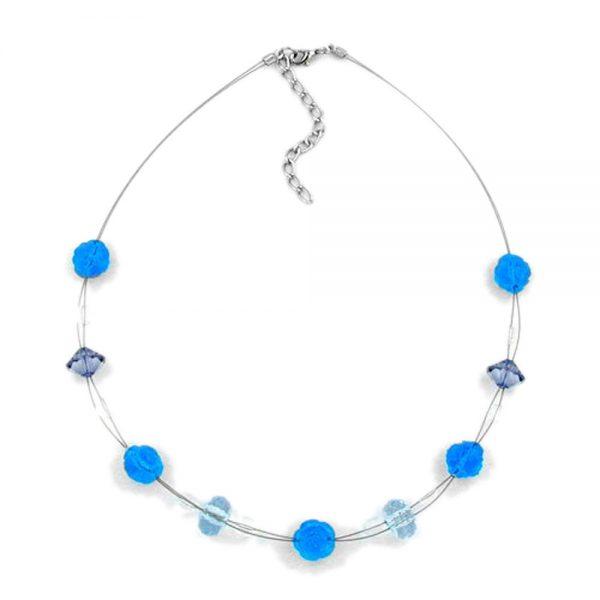 Collier fleur perle turquoise 00479xx