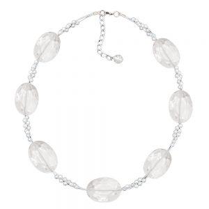 Collier grandes perles en plastique a facettes transparentes perles minuscules blanc nacre 01309xx