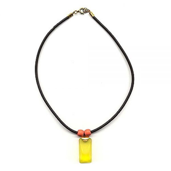 Collier jaune pendentif orange  mat poli 04956xx