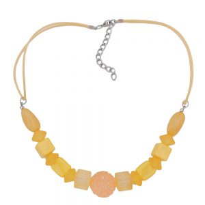 Collier jaune perles cordon jaune 01060xx