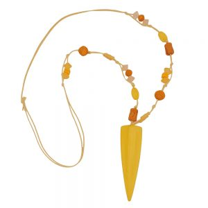 Collier jaune perles pointu triangle 01105xx