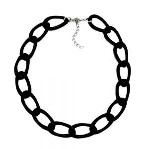 Collier large chaine dancre noir brillant 00567xx