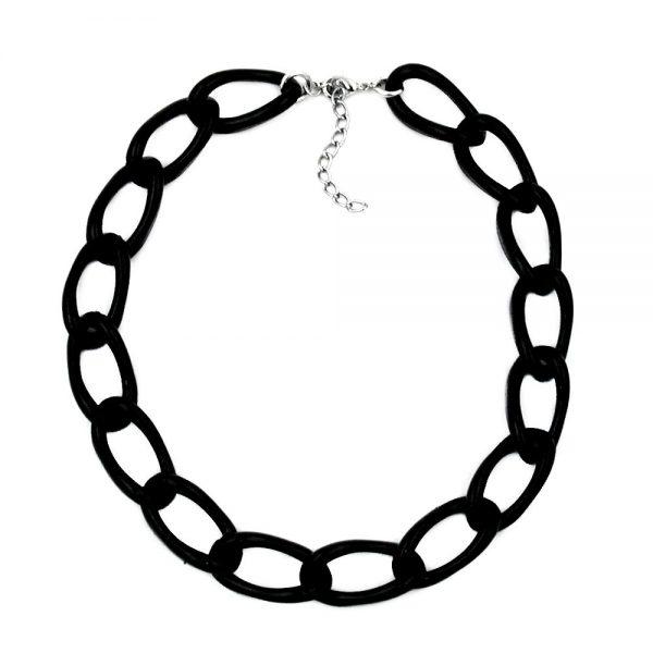 Collier large chaine dancre noir brillant 00567xx