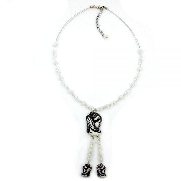 Collier noir camee beige perles sur fil flexible enduit 00300xx