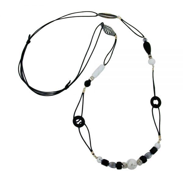 Collier noir et blanc perles 105cm 00157xx