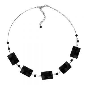 Collier ondule rectangle perles brillant noir 45cm 02671xx