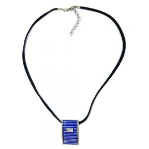 Collier pendentif bleu et argent 45cm 00066xx