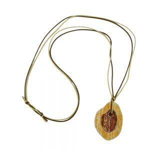 Collier pendentif tige arbre marron  jaune 00917xx