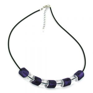 Collier perle inclinee lilac crystal elastique noir 02685xx