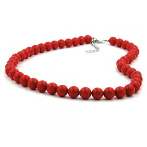 Collier perles 10mm rouge brillant 40cm 01503 40xx