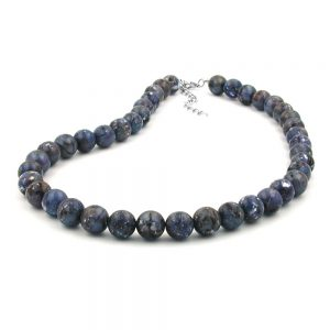 Collier perles 12mm gris lilas 02065xx