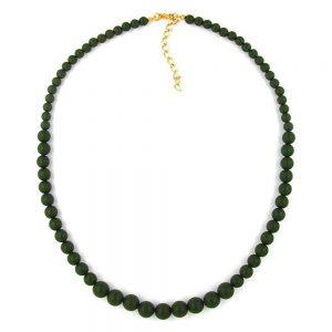 Collier perles 68  10mm vert olive 01392xx