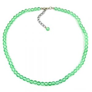 Collier perles 6mm vert  transparent 02053xx