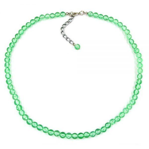 Collier perles 6mm vert  transparent 02053xx