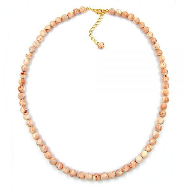 Collier perles 8mm beige marbre 04894xx